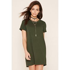 Forever 21 Women's  Cuffed T-Shirt Dress ($13) ❤ liked on Polyvore featuring dresses, forever 21 dresses, t shirt dress, tee dress, forever 21 and tshirt dress