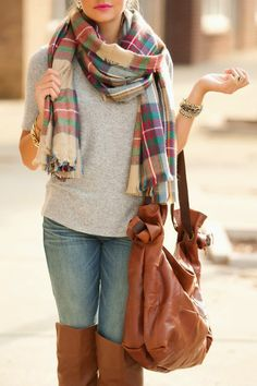Casual Fall Outfit with The Classic Loop Plaid Scarf