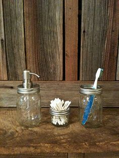 Mason jar as soap, tooth paste and q-tip holders