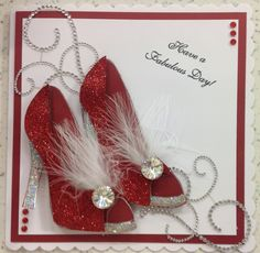 Hi All,   Today's card features the Large Shoe stamp (which is back in stock!!!) for this card I wanted to created something super sparkly a...