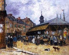 """Eugene Boudin -      """"Market Day at Trouville"""", Normandy, 1878"""