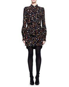 W0D14 Alexander McQueen Obsession Long-Sleeve Tie-Neck Dress, Black