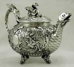 Italian Coin Silver Dragon w Fish Teapot    G. Accarisi  Florence c1890    RARE