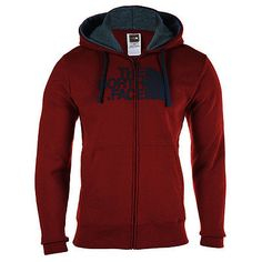 North Face Half Dome Full Zip Hoodie Mens A8WW-D7T Red Black Hoody Size XL