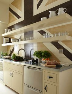 contemporary kitchen by Tinsley Hutson-Wiley Interior Design. love the Union Jack wall Kitchen Butlers Pantry, Butler Pantry, Open Kitchen, Neutral Kitchen, Kitchen Colors, Kitchen Ideas, Kitchen Planning, Transitional Kitchen, Design Kitchen