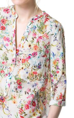 Image 4 of PRINTED BLOUSE from Zara - long striped blouse, women's short sleeve shirts blouses, red blouses for women *ad Floral Blouse, Printed Blouse, Floral Tops, Floral Fashion, Fashion Prints, Modest Dresses Casual, Frock And Frill, Zara, Blouses For Women