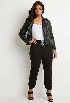 Buy it now. FOREVER21 PLUS Women's  Black & White Plus Size Contrast-Striped Joggers. Forever 21+ - For busy weekends, we know comfort and style are your top priorities. This pair of joggers is the best of both worlds. It features contrast-striped sides, an elasticized drawstring waist, and elasticized ankles. Add your signature feminine flair with a pair of pumps. Unlined, knit100% cotton26%22 inseam, 38%22 waist, 11%22 riseMeasured from 1XHand wash coldMade in Cambodia , pantalónjogger…
