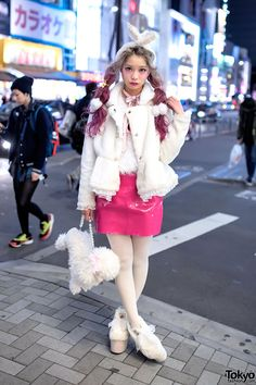 I like the poodle handbag  The look features pretty pink twin tails, a lace-trimmed Swankiss jacket, a pink vinyl skirt, furry Swankiss platforms, and a Swankiss poodle handbag