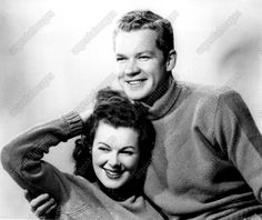 Barbara Hale and husband Bill Williams in a  1946 press still wearing very cute matching sweaters
