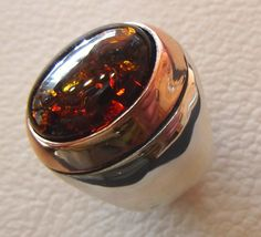 Baltic amber oval stone huge two tone man ring sterling silver 925 any size free shipping bronze frame imitation stone identical to genuine