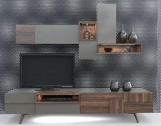 FLUX collection Designed by Çağtay Döner. on Behance Tv Shelf Design, Tv Cabinet Design, Tv Wall Design, Bed Design, House Design, Tv Unit Furniture, Furniture Design, Lcd Panel Design, Lcd Units