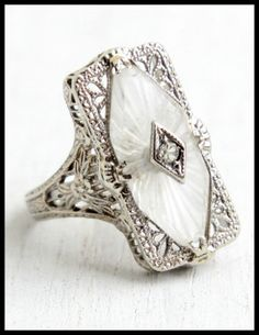 Antique Art Deco camphor glass and filigree ring at Maejean Vintage.