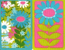 I STILL HAVE MY SET OF THESE CARDS IN A NEON GREEN CASE! | Vintage Swap / Playing Cards- 2 SINGLE - BRIGHT COLOURFUL DAISIES