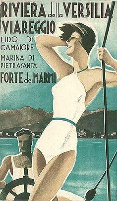 Rivera de la Versilia Viareggio, circa 1935 - Travel Brochure front cover