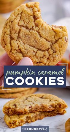 These chewy pumpkin cookies are studded with bits of toffee and caramel, and baked until soft and tender.  The perfect Fall dessert, these cookies go great with a cold glass of milk! #cookies #pumpkin #baking #caramel #toffee #dessert