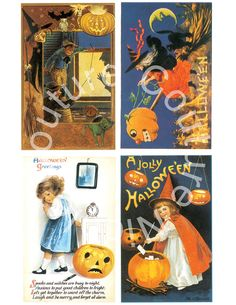 SALE Vintage Halloween PostcardsSpooky Collage by couturenicole