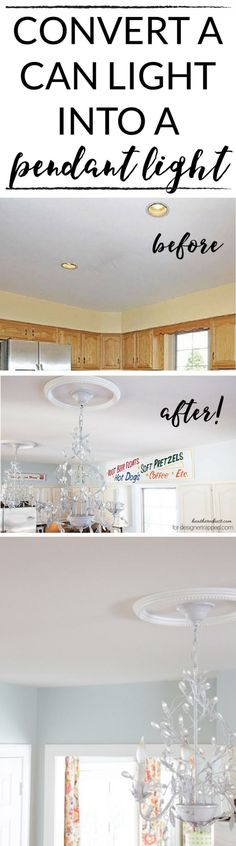 This is AWESOME! You can easily convert a recessed light to a pendant light with this tutorial by The Heathered Nest for www.designertrapped.com!