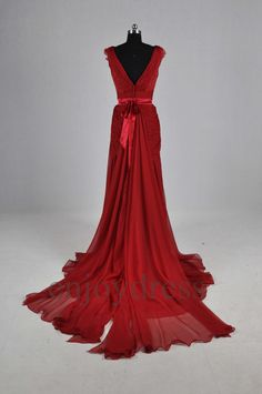 Custom Red Long Lace Chiffon Wedding Dress 2014 by enjoydress