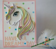 Unicorn Happy Birthday Greeting Card Quilling unicorn card