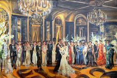 Greek wedding Reception at the Waldorf Astoria, NYC by artist Katherine Gressel