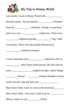See 7 Best Images of Disney Mad Libs Printable. Free Printable Mad Libs for Kids Disney Bridal Shower Mad Lib Wedding Printable Love Mad Libs Kids Mad Libs Printable Disney Mad Libs Disney Activities, Disney Games, Disney Fun, Disney Theme, Disney World Trip, Disney Trips, Mad Libs For Adults, Funny Mad Libs, Disney Printables