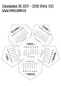 Calendario-escolar-3D-2017-2018-para-imprimir-Dodecaedro-Papelisimo-1_2 Home Crafts, Diy And Crafts, Paper Crafts, Kirigami, Planners, Calendar Design, Calendar Ideas, Hobbies For Women, Paper Toys
