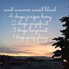 Sweet Summer Sunset blend, Essential Oils Juniper Berry, Grapefruit, Bergamot & Ylang Ylang. www.hayleyhobson.com