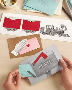 A crush can be more powerful than a locomotive. It can also be as sweet as a hand-delivered note, or as cheerily optimistic as an upturned mailbox flag. These clip art illustrations require a few simple cuts and a couple of pieces of tape. The little envelope acts as a card within a card, containing a secret love note or special gift card.