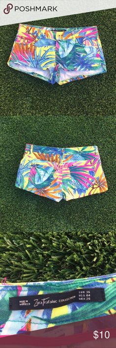 ZARA tropical shorts size 4. ZARA tropical shorts size 4. Adorable and fun short that I purchased from Posh. Fit true size 4 just a little too short for me . Zara Shorts