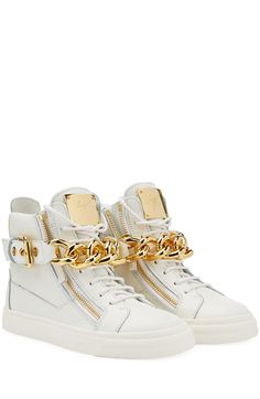 Chain-Detailed Leather Sneakers detail 0