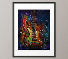 Fine Art Print Colorful Electric Guitar by NYoriginalpaintings