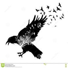 Illustration about Raven double exposure.Trees and birds background. Illustration of design, image, wild - 71858482 Viking Tattoo Sleeve, Viking Tattoos, Sleeve Tattoos, Tatuaje Grim Reaper, Tree With Birds Tattoo, Raven Totem, Totem Tattoo, Skeleton Tattoos, Crow Art