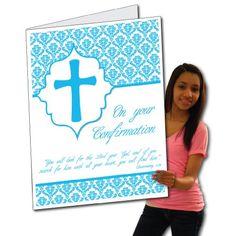 2'x3' Confirmation Card W/Envelope (Blue Cross) - Huge Greeting Card VictoryStore http://www.amazon.com/dp/B00CXXMQKE/ref=cm_sw_r_pi_dp_ofw.wb1M2HYTV