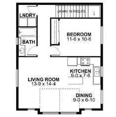 This traditional design floor plan is 833 sq ft and has 1 bedrooms and has 1 bathrooms. Small Tiny House, Modern House Plans, Small House Plans, House Floor Plans, Small Houses, Garage To Living Space, One Bedroom House, Homestead House, Garage Apartment Plans