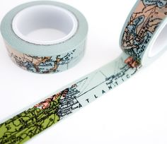 Single roll of washi tape with world map pattern and gold details. Great for scrapbooking, gift wrapping, decorating cards and envelopes and more! Add a little dash of cuteness to any crafting project