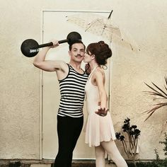 Vintage Circus Strong Man and Tightrope Walker costumes #StrongMan #TightropeWalker #Couplescostumes