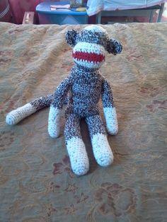 my first crocheted sock monkey