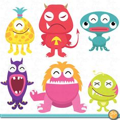 Cute Litter Monsters Clip art Set, funny monster Personal and Commercial Use, cards, invitations, scrapbooking and all paper crafts. Cute Monsters, Monsters Inc, Little Monsters, Clipart, Monster Art, Art Jouet, Arts And Crafts, Paper Crafts, All Paper
