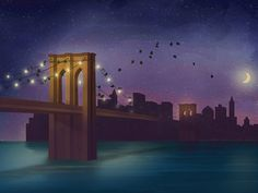 Brooklyn Bridge Illustration GIF by desigNeat http://www.designeat.com