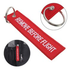 2Pcs Remove Before Flight Embroidered Canvas Specil Luggage Tag Label Key Chain #Unbranded