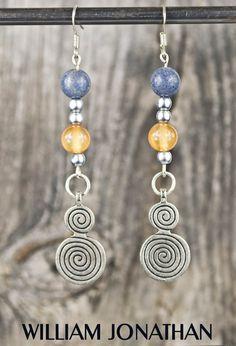 Carnelian agate gemstone dangling earrings Chalcedony earrings Agate earrings Antique silver charm earrings Statement earrings Gift ideas by WilliamJonathan