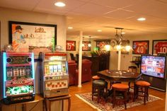 love this basement! really love the old-school slot machines!