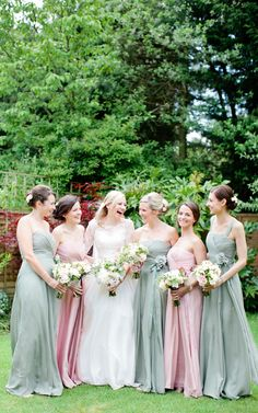 Image by Helen Cawte Photography - Naomi Neoh Fleur Bridal Gown | Pastel Pink & Thyme Coast Bridesmaid Dresses | Burcombe Manor | Classic Country Marquee Wedding | Helen Cawte Photography | http://www.rockmywedding.co.uk/emily-charlie/