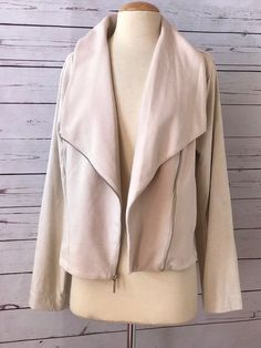 H By HALSTON Beige French Terry Knit Flyaway Moto Jacket Size 12 #Halston #Motorcycle