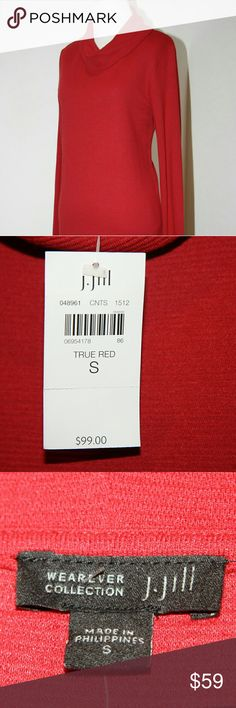 j.jill red dress - wearever collection NWT j.jill red dress - wearever collection  WEAREVER OTTOMAN KNIT COWL-NECK DRESS  Knit pullover dress. Rich texture and softly draped cowl neckline. Long sleeves. Virtually wrinkle free. Made from soft European yarns.  NWT J. Jill Dresses Long Sleeve