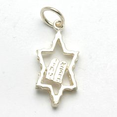 Shavout charm! Sterling Silver Star of David 10 commandments Pendant