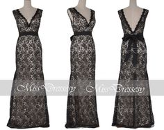 Lace Evening Dresses Lace Gown Mermaid Straps V by MissDressesy, $169.00