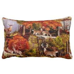 "Title : Cabin Lodge Forest Scene.JPG Lumbar Pillow  Description : Rustic, ""Cabin-Lodge"", Animals, Wildlife, ""Accent-Pillows"", ""Log-Cabin"", ""Hunting-Lodge"", ""Fall-Season"", ""Tribal-Borders-Animal-Prints"", ""Black-Forest-Décor"", Whimsical, Ikat, ""Faux-Leather-Prints"", ""Native-American-Indian"", Tribal, ""Animal-Prints"", ""Western-Southwest-Prints"", Traditional, Modern, Bohemian, ""Country-Cottage"", Vintage, Kilim,  Product Description : <div>  Fabric: Cotton    <div></div>  </div>"