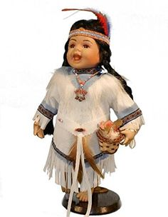 12 Inch Indian Doll in Full Native American Costume in Window Box * Quickly view this special  product, click the image : Collectible Dolls for Home Decor
