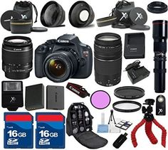 Top Value Bundle For T5 Camera Body with 18-55mm IS II Lens + 75-300mm III + 500mm Preset + Deluxe Backpack + 3pc Filter Kit + Wide Angle + Extra Battery + 2pcs 16GB Memory Cards + 24pc Kit